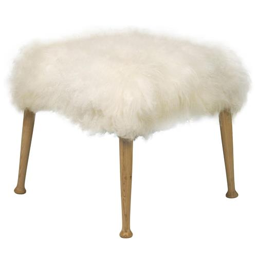 Noir Bianca Hollywood Regency White Faux Fur Flokati Ottoman | Kathy Kuo Home