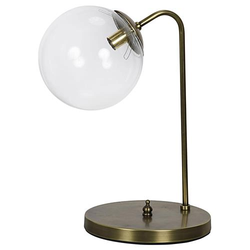 Billie Modern Classic Lustrous Brass Glass Sphere Table Lamp | Kathy Kuo Home