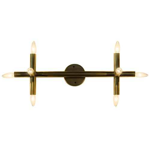 Benito Industrial Loft 6 Point Antique Brass Sconce | Kathy Kuo Home