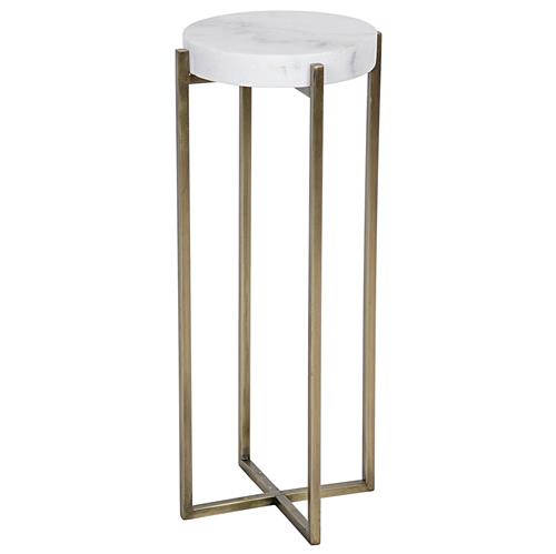 Noir Soho Hollywood Regency Quartz Antique Brass Round Side Table | Kathy Kuo Home