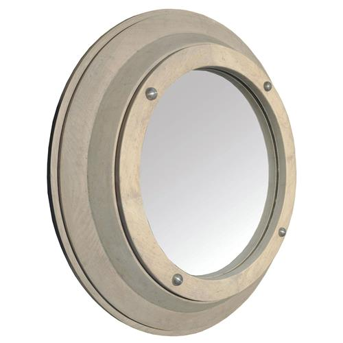 Skye Coastal Washed Grey Elm Porthole Mirror - 24 Inch - 24D | Kathy Kuo Home
