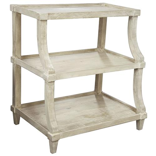 Malo French Country Grey Wash Curved End Table | Kathy Kuo Home