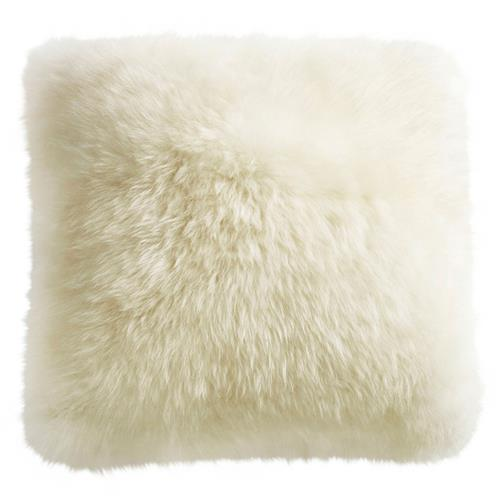 Mildred Modern Ivory Long Wool Fur Pillow - 14x14 | Kathy Kuo Home