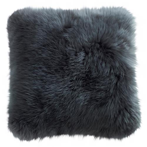 Mildred Modern Steel Grey Long Wool Fur Pillow - 14x14 | Kathy Kuo Home