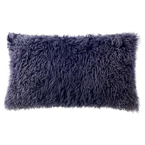 Grable Modern Plum Charcoal Curl Long Wool Pillow - 11x22 | Kathy Kuo Home