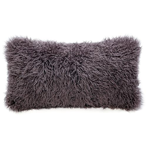 Grable Modern Java Curl Long Wool Lumbar Pillow - 11x22 | Kathy Kuo Home