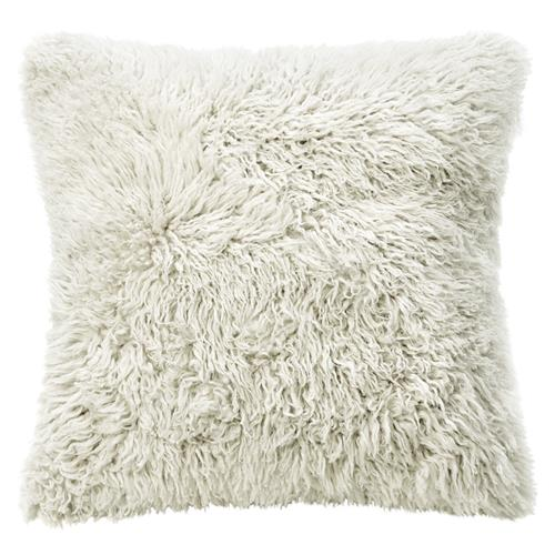 Grable Modern Milk White Curl Long Wool Pillow - 22x22 | Kathy Kuo Home