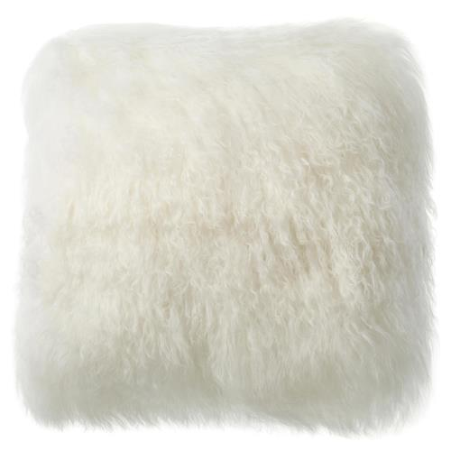 Shansi Modern Ivory Long Wool Tibetan Fur Pillow - 16x16 | Kathy Kuo Home
