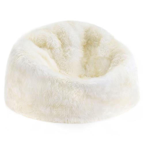 Shiloh Modern Ivory Long Wool Fur Leather Beanbag | Kathy Kuo Home