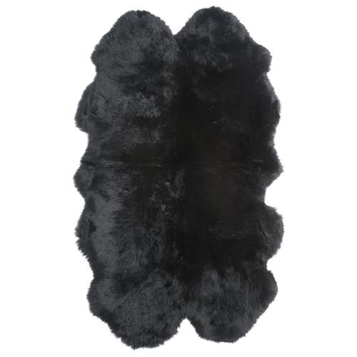 Veruca Modern Midnight Black Sheepskin 4 Pelt Fur Rug | Kathy Kuo Home