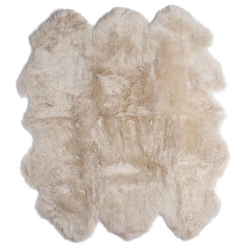 Veruca Modern Toasted Almond Sheepskin 6 Pelt Fur Rug- 5' x 6' | Kathy Kuo Home
