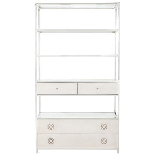 Gretta Ivory Hollywood Regency Nickel Double Ring Bookcase | Kathy Kuo Home