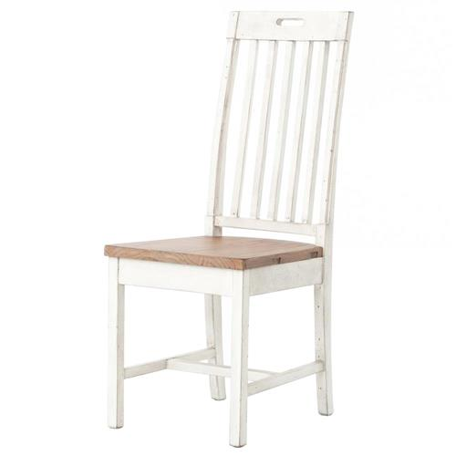 Barnes Modern Classic Reclaimed Wood Limed Slat Back Dining Side Chair | Kathy Kuo Home