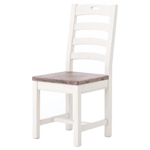 Elwin Modern Classic Reclaimed Wood Whitewash Ladderback Dining Chair | Kathy Kuo Home