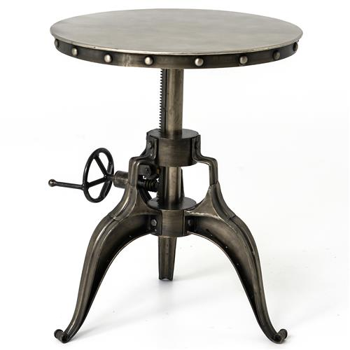 Fronzoni Industrial Loft Antique Nickel Crank Side Table | Kathy Kuo Home