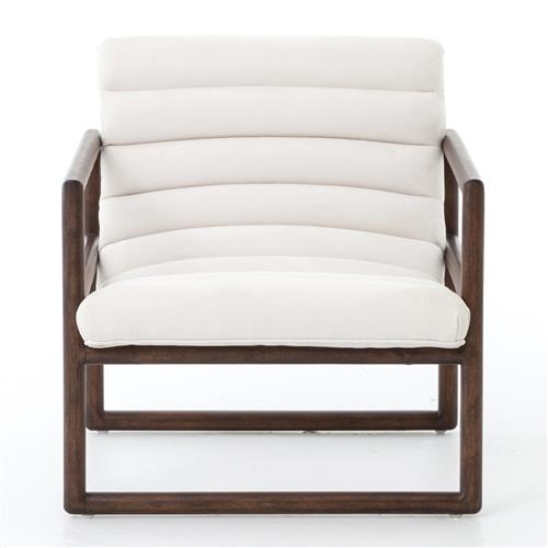Camila Modern Classic White Upholstered Brown Wood Occasional Arm Chair | Kathy Kuo Home