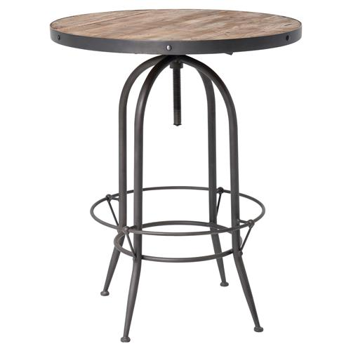Clive Industrial Loft Adjustable Height Round Black Iron Reclaimed Wood Bar Table | Kathy Kuo Home