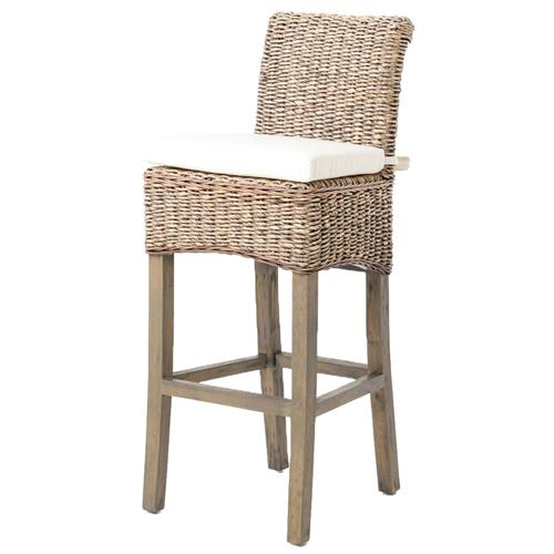 Sisson Coastal Beach Woven Banana Leaf Wood Counter Stool | Kathy Kuo Home
