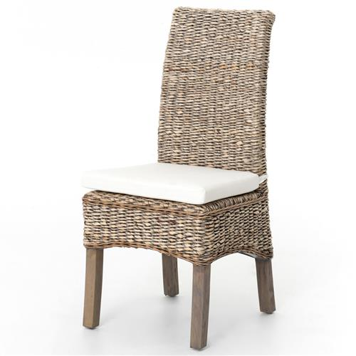 Sisson Modern Woven Banana Leaf Grey Wood Side Chairs | Kathy Kuo Home