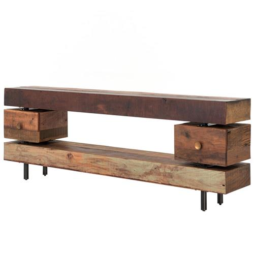 Taos Rustic Lodge Stacked Wood Three Tier Console Table | Kathy Kuo Home