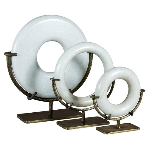 Justine Modern Classic Antique Brass Ring Stone Sculptures | Kathy Kuo Home