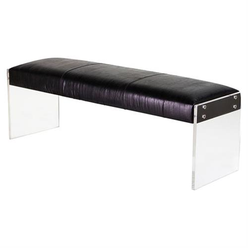 Interlude Aiden Modern Classic Acrylic Black Leather Bench | Kathy Kuo Home