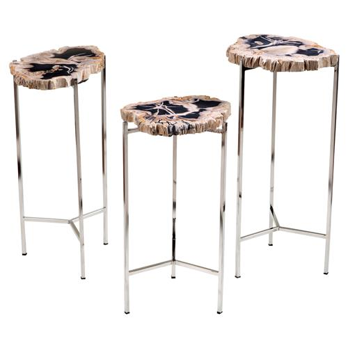 Interlude Armani Rustic Lodge Petrified Wood Round Table - Set of 3 | Kathy Kuo Home