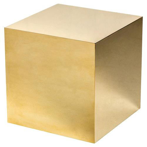Interlude Aubrey Modern Classic Polished Brass Cube Side Table | Kathy Kuo Home