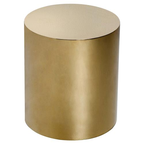Interlude Aubrey Modern Classic Polished Brass Cylinder Side Table | Kathy Kuo Home
