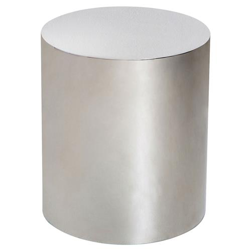 Interlude Aubrey Modern Classic Polished Silver Cylinder Side Table | Kathy Kuo Home