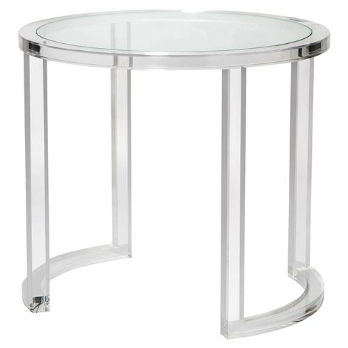 Interlude Ava Modern Acrylic Clear Glass Round Center Table | Kathy Kuo Home