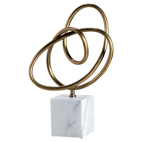 Interlude Interlude Boucle Modern Classic Brass Knot White Marble Sculpture | Kathy Kuo Home
