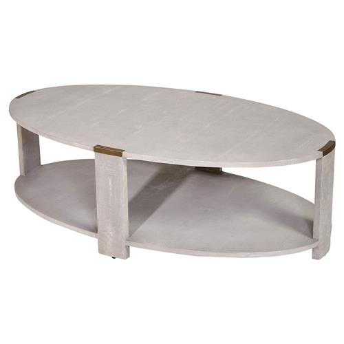 Darren modern classic cream faux shagreen coffee table for Large cream coffee table