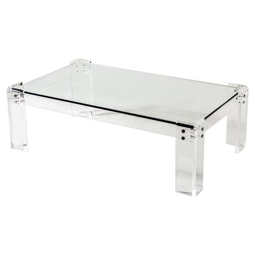 Interlude Gwenyth Modern Classic Acrylic Hinge Coffee Table | Kathy Kuo Home