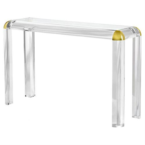 Interlude Hollywood Modern Rounded Brass Acrylic Console Table - 52W | Kathy Kuo Home