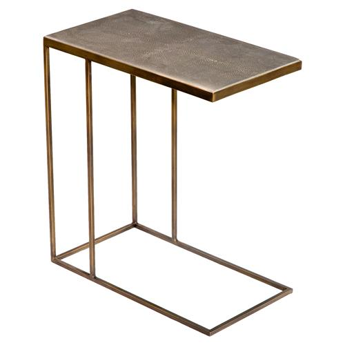 Interlude Johannes Industrial Loft Faux Shagreen Brass Side Table | Kathy Kuo Home