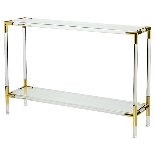 Interlude Julien Modern Brass Corner Acrylic Console Table - 48W | Kathy Kuo Home