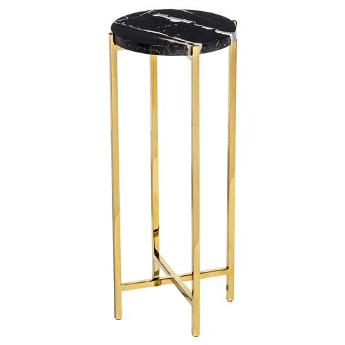 Interlude Laurent Hollywood Regency Charcoal Marble Round Gold Drink Table | Kathy Kuo Home