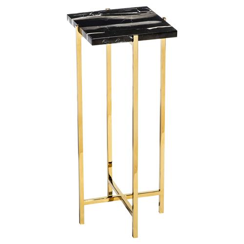 Interlude Laurent Hollywood Regency Charcoal Marble Square Gold Drink Table | Kathy Kuo Home