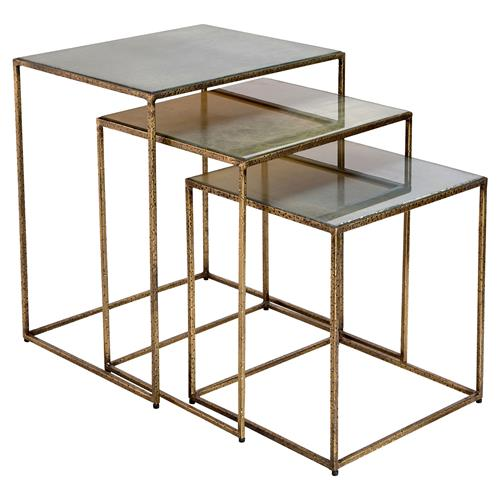 Royce Hollywood Regency Gold Rectangle Nesting Table  Set of 3  Kathy Kuo Ho -> Gold Rectangle Table