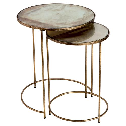 Interlude Macie Hollywood Regency Gold Round Nesting Tables - Set of 2 | Kathy Kuo Home