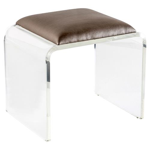 Interlude Mira Modern Classic Bronze Leather Acrylic Stool | Kathy Kuo Home