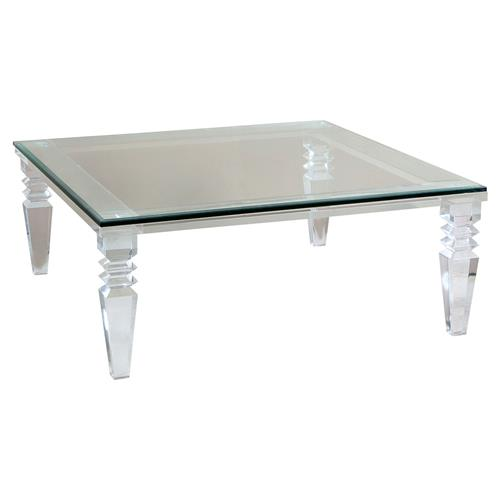 Interlude Savannah Modern Classic Square Crystal Cut Acrylic Coffee Table | Kathy Kuo Home