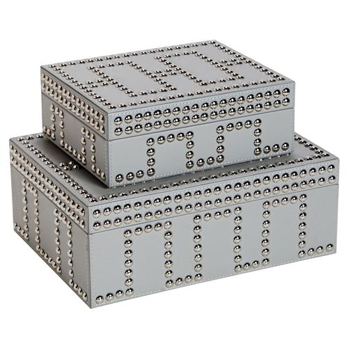 Interlude Interlude Tess Modern Classic Grey Stud Leather Boxes - Set of 2 | Kathy Kuo Home