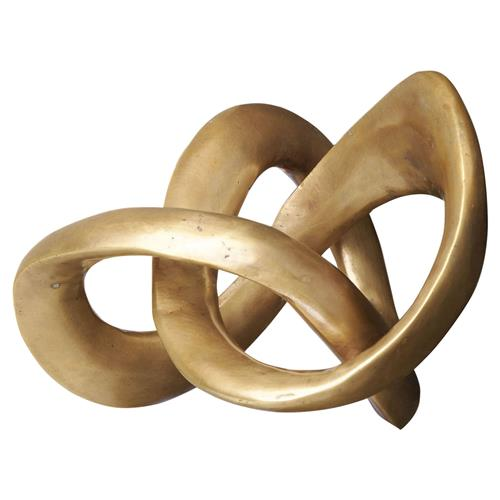 Interlude Interlude Trefoil Modern Classic Abstract Knot Brass Sculpture | Kathy Kuo Home