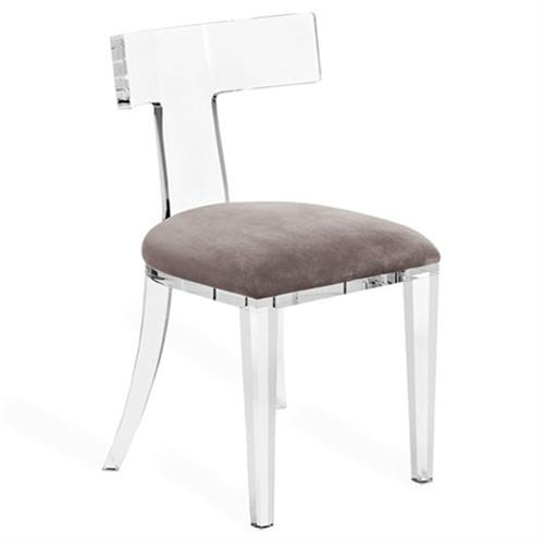 Interlude Tristan Modern Classic Grey Velvet Acrylic Dining Chair | Kathy Kuo Home