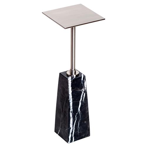 Interlude Beck Modern Classic Black Marble Tall Nickel Drink Table | Kathy Kuo Home