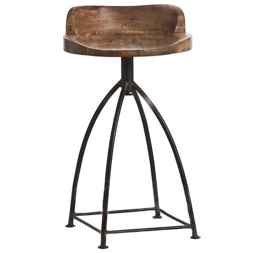 Arteriors Henson Industrial Loft Antique Wood Iron Swivel Counter Stool | Kathy Kuo Home