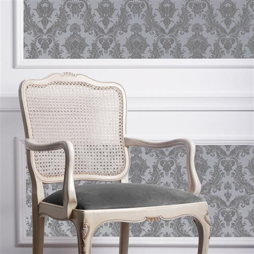 Damask Modern Classic Blue Light Grey Removable Wallpaper | Kathy Kuo Home