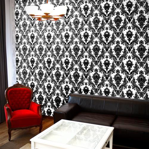 Damask Modern Classic Black White Removable Wallpaper | Kathy Kuo Home